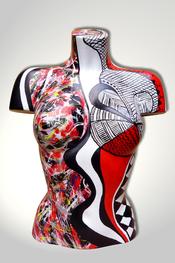 Torso, Skulptur, bunt, abstrakt, Art, Kunst, Malerei, Original, Unikat, Kunststoff, Acryl, weiblich, 12