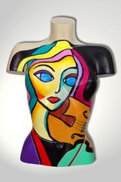 Torso, Skulptur, bunt, abstrakt, Art, Kunst, Malerei, Original, Unikat, Kunststoff, Acryl, Gesicht, weiblich, 111, Geige, Musik