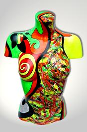 Torso, Skulptur, bunt, abstrakt, Art, Kunst, Malerei, Original, Unikat, Kunststoff, Acryl, weiblich, 5