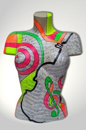 Torso, Skulptur, bunt, abstrakt, Art, Kunst, Malerei, Original, Unikat, Kunststoff, Acryl, weiblich, 84, Collage, Noten, Musik