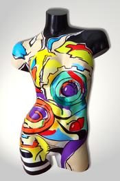 Torso, Skulptur, bunt, abstrakt, Art, Kunst, Malerei, Original, Unikat, Kunststoff, Acryl, Gesicht, weiblich, 108