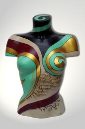 Torso, Skulptur, bunt, abstrakt, Art, Kunst, Malerei, Original, Unikat, Kunststoff, Acryl, weiblich, 74, Collage, Noten