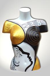Torso, Skulptur, bunt, abstrakt, Art, Kunst, Malerei, Original, Unikat, Kunststoff, Acryl, Gesicht, weiblich, 127, schwarz, weiss, Gold