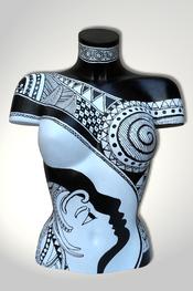 Torso, Skulptur, bunt, abstrakt, Art, Kunst, Malerei, Original, Unikat, Kunststoff, Acryl, weiblich, 79, schwarz, weiss, Gesicht