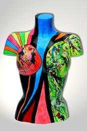 Torso, Skulptur, bunt, abstrakt, Art, Kunst, Malerei, Original, Unikat, Kunststoff, Acryl, weiblich, 24