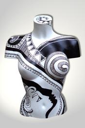 Torso, Skulptur, bunt, abstrakt, Art, Kunst, Malerei, Original, Unikat, Kunststoff, Acryl, weiblich, 78, schwarz, weiss, Gesicht