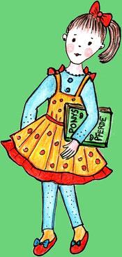 Das Mädchen Vroneli mit Pferdebuch (Buntstiftzeichnung)