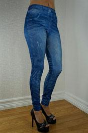 jeans print legging, jegging, jacomina blauw