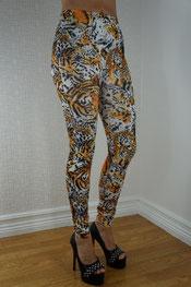 dieren print legging d'shine, imitatieleer, luipaard zwart