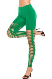 street & sexy stijl legging, gescheurd, ronde gaten groen