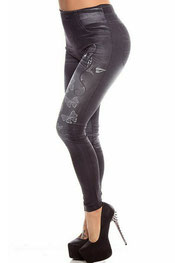 jeans print legging vlinder zwart