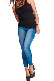 jeans print legging zakken blauw