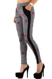 sport & vrijetijd legging, hoog getailleerd, tailleband grijs/roze
