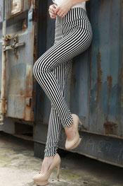 blokken & strepen print legging, diamant patroon gekleurd