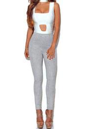 stijlvol design legging sam-sarah, suede, hooggetailleerd grijs