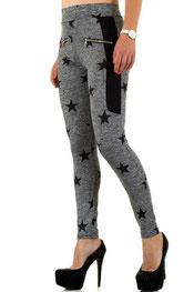 sport & vrijetijd legging, hoog getailleerd, tailleband grijs/zwart