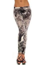 print design legging, winte story zwart