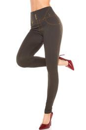 stijlvol design/jeans print legging sanchia/jeara, hooggetailleerd, knopen kaki