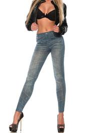 jeans print legging metaal knoppen blauw