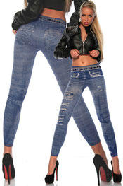 Jeans print legging, jegging blauw