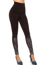 stijlvol design legging swaan, suede, hooggetailleerd kastanjebruin