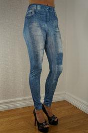 jeans print legging, jegging, denim, skinny, knielap blauw