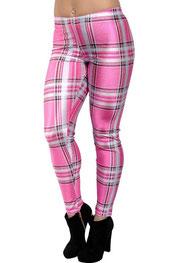 blokken & strepen print legging, fel gekleurd