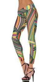 blokken & strepen print legging, gestreepte kant
