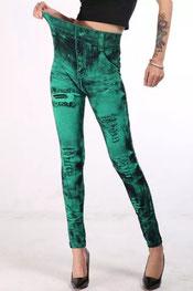 jeans print legging, jegging, verf design blauw
