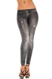jeans print legging jahly, skinny, middel getailleerd zwart