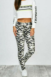 camouflage print legging cacharella, jungle groen