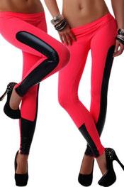 imitatieleer legging, zijde roze