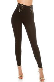 stijlvol design legging sanne-tess, hooggetailleed, ritsen, knopen zwart
