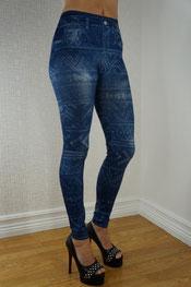 Jeans print legging, jegging, denim, skinny, glimmend, mode blauw