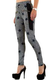 sport & vrijetijd legging, hoog getailleerd, tailleband grijs/donkerblauw