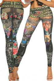 print design legging, black hot