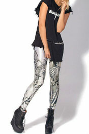 skelet en kruizen print leggings