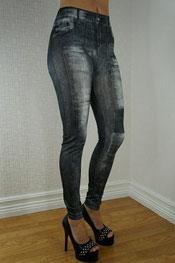 jeans print legging, jegging, denim, skinny, knielap zwart