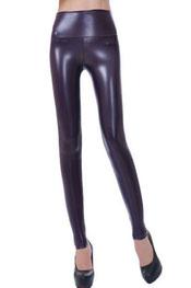 imitatieleer legging, hoog getailleerd, glimmend paars