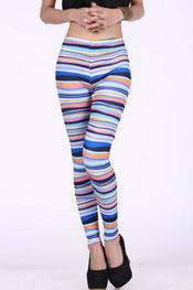 blokken & strepen print legging, digitaal, gestreept zwart/wit