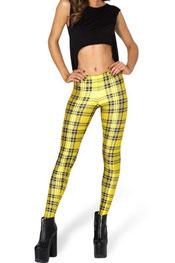 blokken & strepen print legging, digitaal, rooster geel