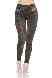 jeans print legging juliette, hooggetailleerd, lips print donkerblauw