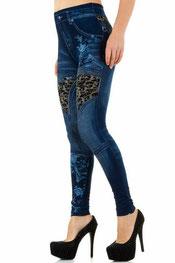 jeans print legging italiaans design blauw