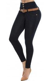 corrigerend legging/broek calixte t/m 2xl, jeans, hoog getailleerd zwart
