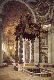 Bernin, Baldaquin surplombant l'autel, Saint-Pierre de Rome, Vatican, copyright : M.Lefftz