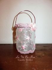 Glaslaterne, Windlicht, handdekoriert, rosa,