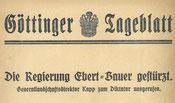 Göttinger Tageblatt, Extrablatt, nach 13.03.1919. StA Göttingen
