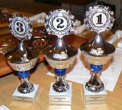 Die Pokale für das Luftmatratzenrennen...