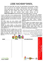 Corona-Hilfe Heerstraße Nord: Aushang für Anbieter