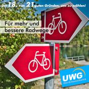 Für mehr und bessere Radwege - Der 18. von 21 guten Gründen, uns zu wählen